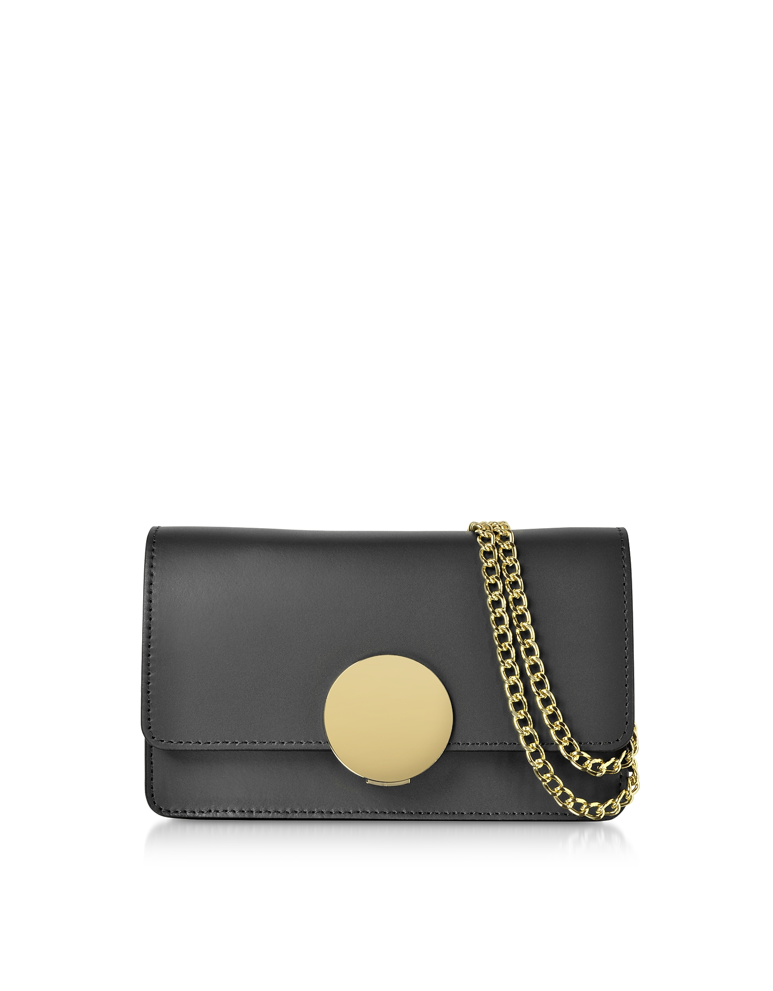 New Ondina Nano Leather and Suede Crossbody Clutch. New Ondina Nano Leather and Suede Crossbody Clutch crafted in smooth genuine Italian calf leather, has a modern lined silhouette and petite form that goes from shoulder to crossbody to clutch making it the perfect all-around accessory. Featuring flap top circular push lock closure, chain and leather shoulder strap, pocket under flap, tonal stitching and gold tone hardware. Hand made in Italy.