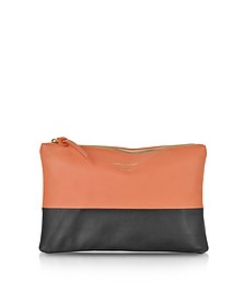 Color Block Nappa Leather Zip Pouch - Le Parmentier