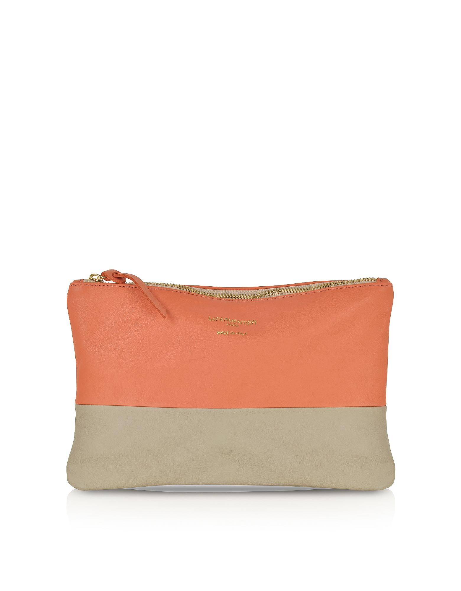 Le Parmentier Designer Handbags, Color Block Nappa Leather Zip Pouch