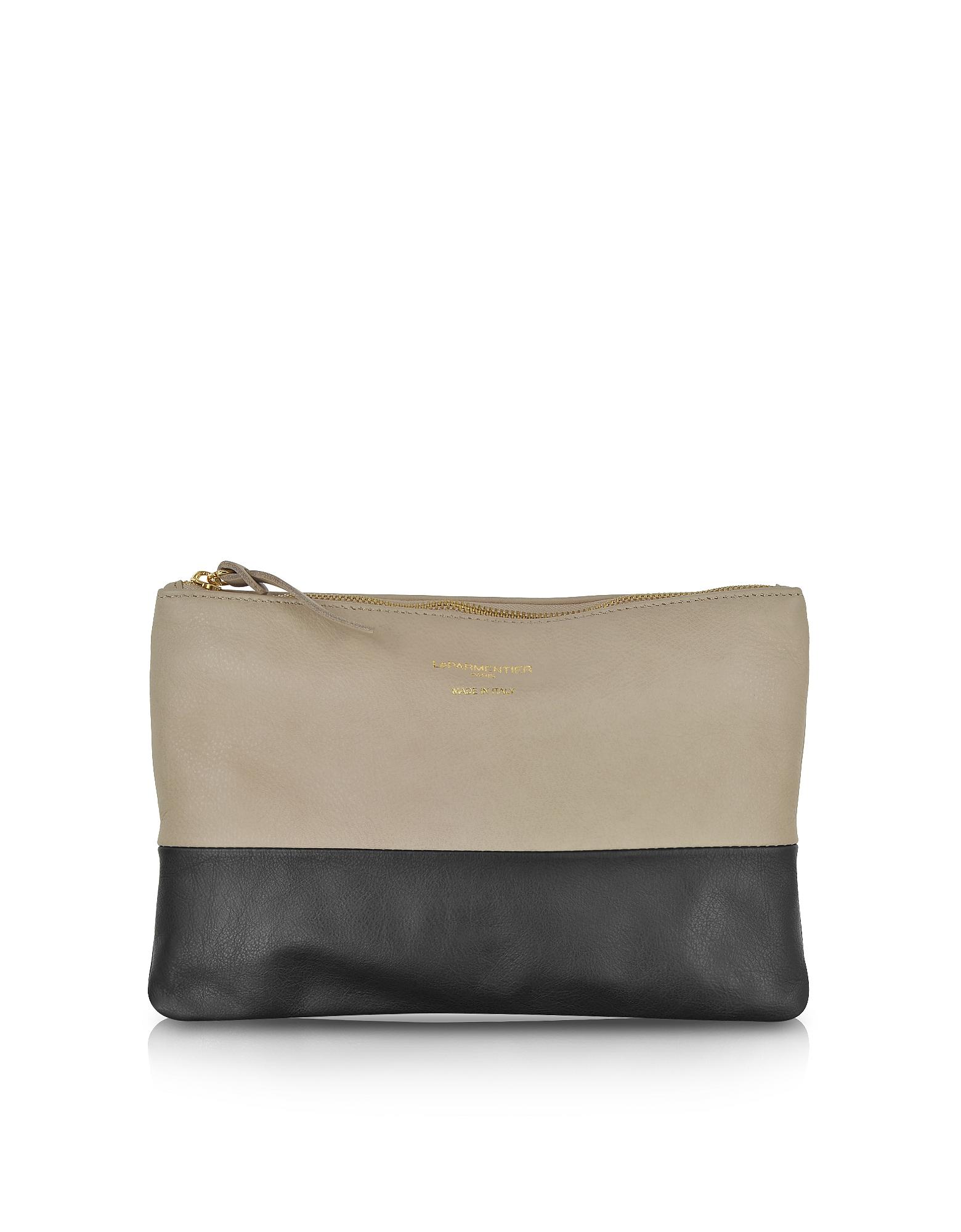 Le Parmentier Handbags, Color Block Nappa Leather Zip Pouch