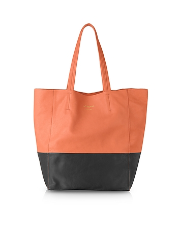 Large Color Block Nappa Leather Tote