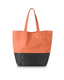 Large Color Block Nappa Leather Tote - Le Parmentier