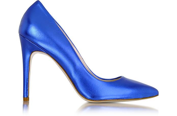 Metallic Blue Leather Pump - Le Parmentier