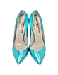 Metallic Aqua Leather Pump - Le Parmentier