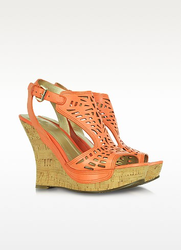Belle - Babita Peach Leather Wedge - Sigerson Morrison