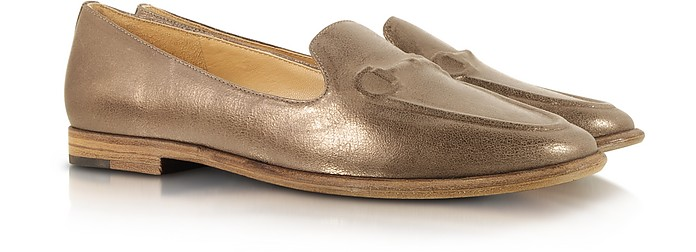 Belle - Bina Taupe Metallic Leather Loafer - Sigerson Morrison