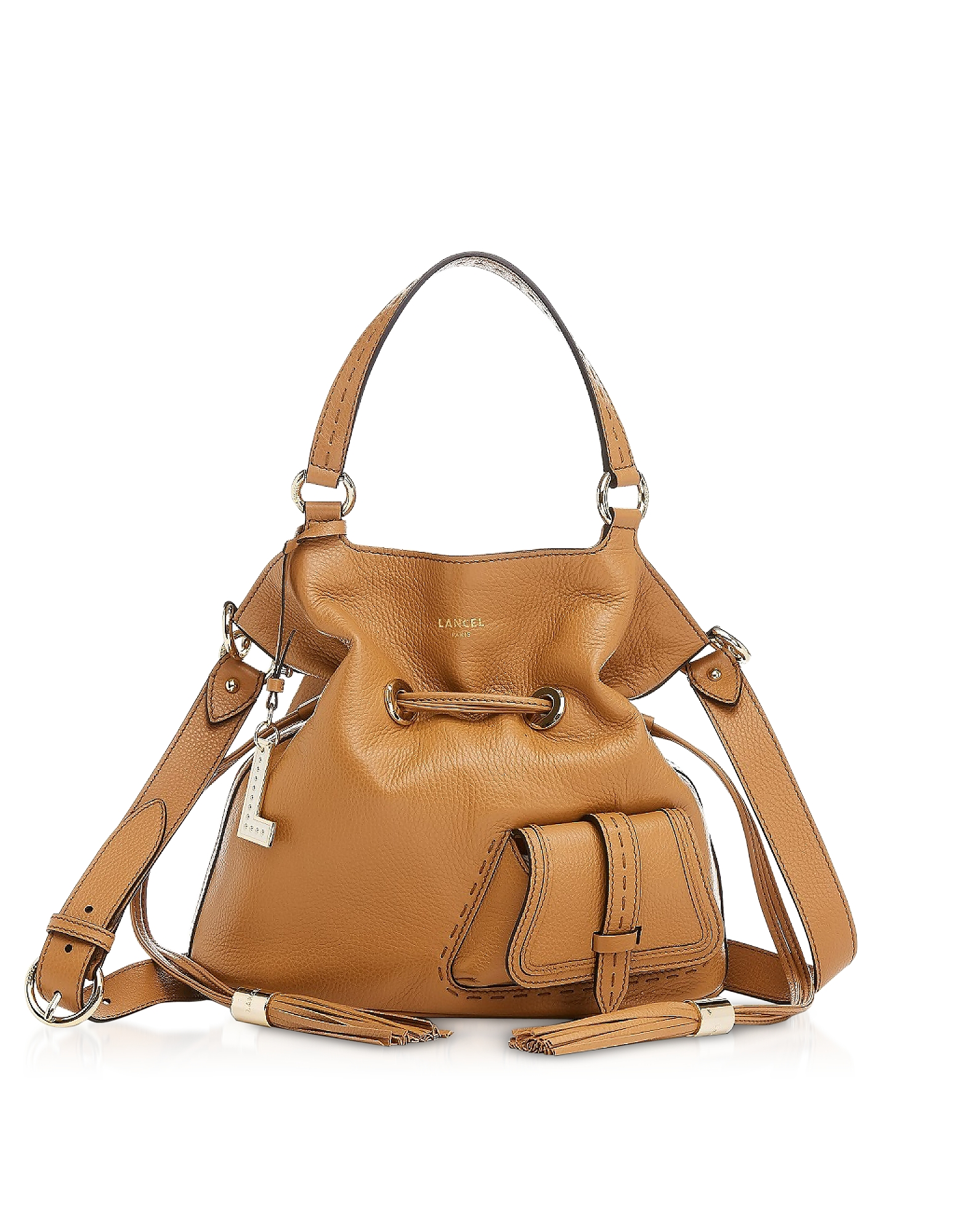 Lancel Designer Handbags, Premiere Medium Camel Leather Bucket Bag
