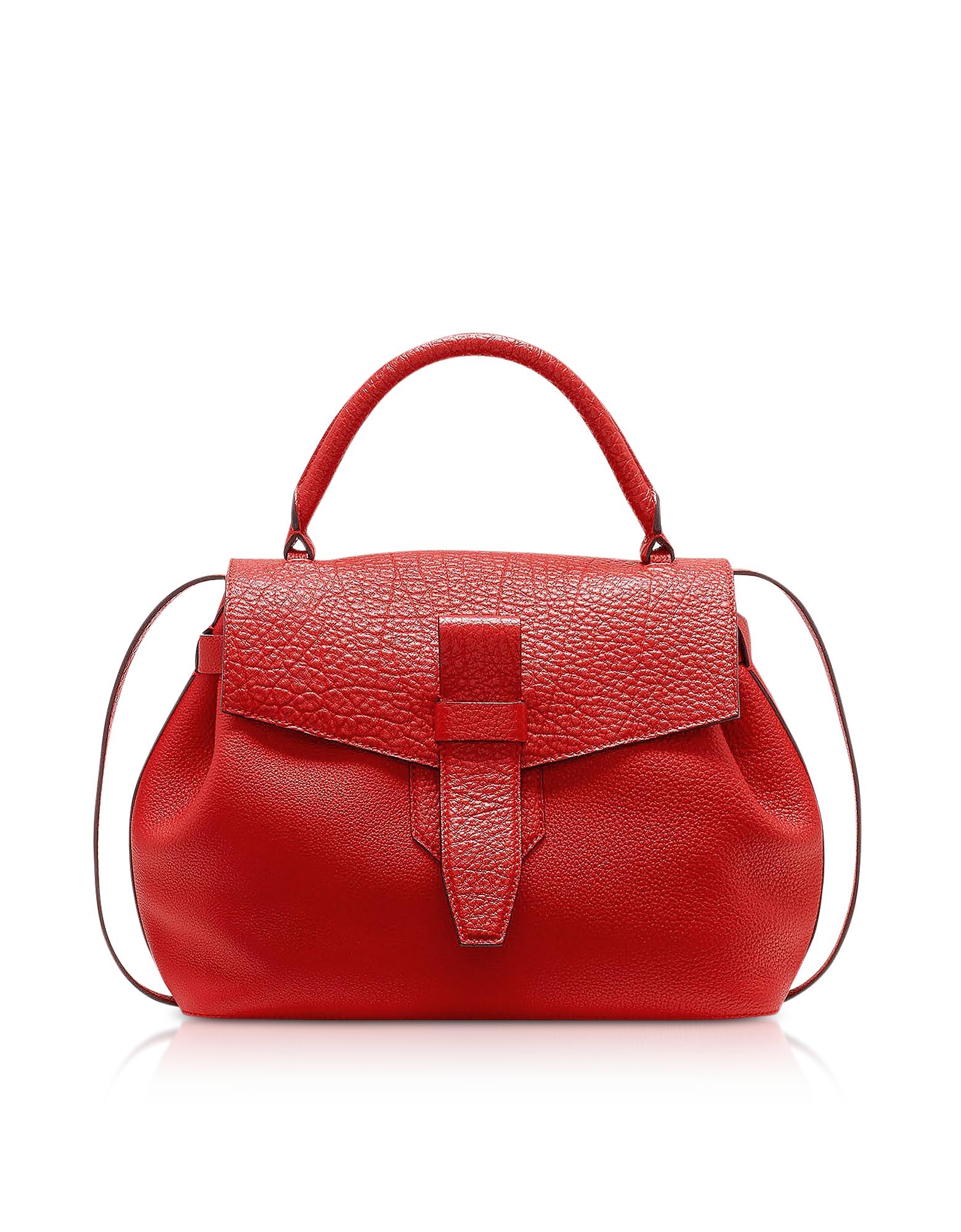 Image of Lancel Designer Handbags, Charlie Medium Grained Leather Handbag