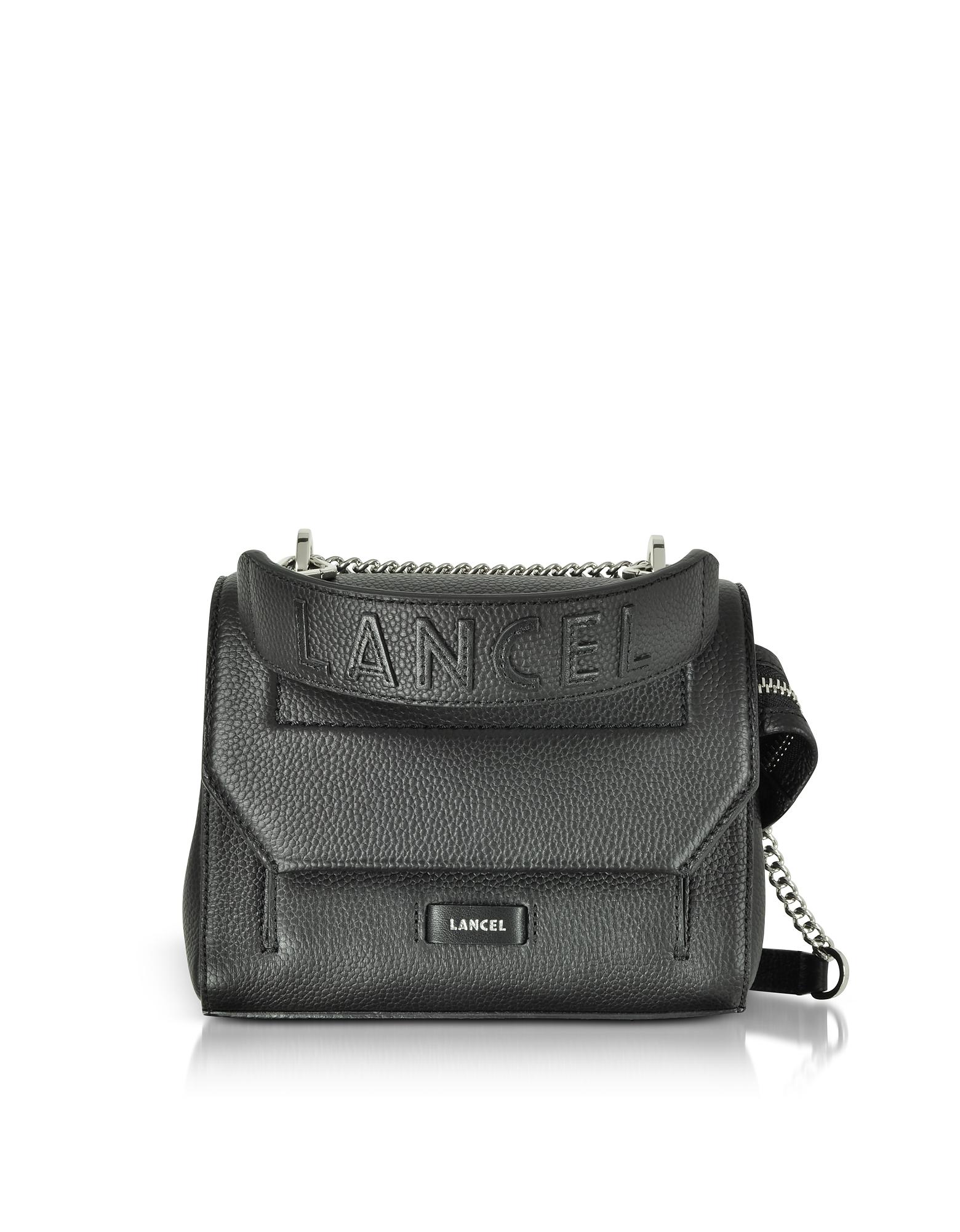 Image of Lancel Designer Handbags, Ninon Round Leather Small Flap Bag