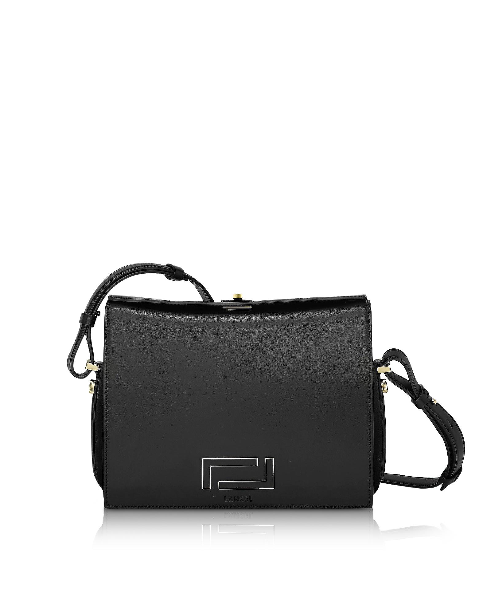 Image of Lancel Designer Handbags, Pia Black Smooth Leather and Suede Crossbody Bag