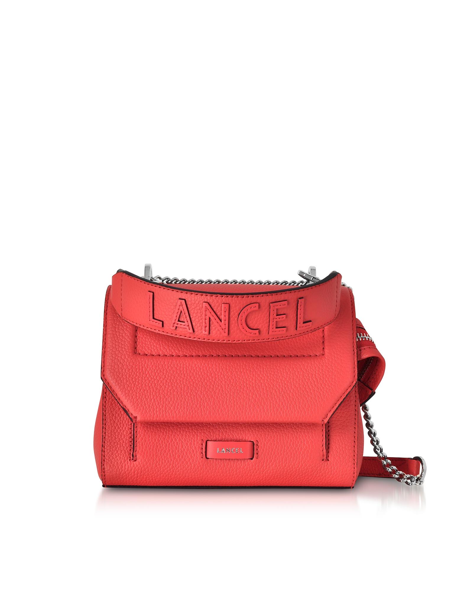 Image of Lancel Designer Handbags, Coral Ninon Round Leather Small Flap Bag