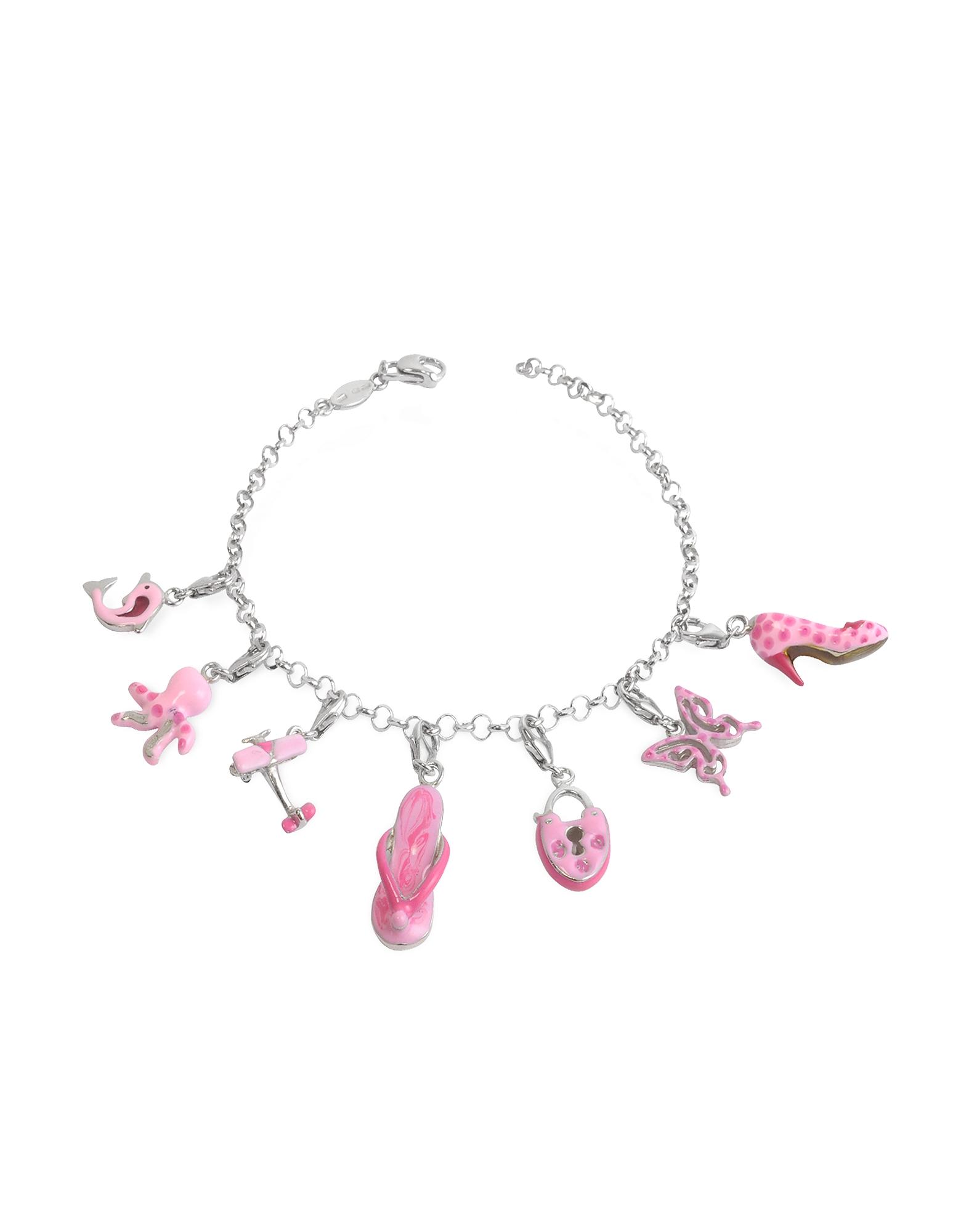 Розовый Браслет из Серебра 925 пробы