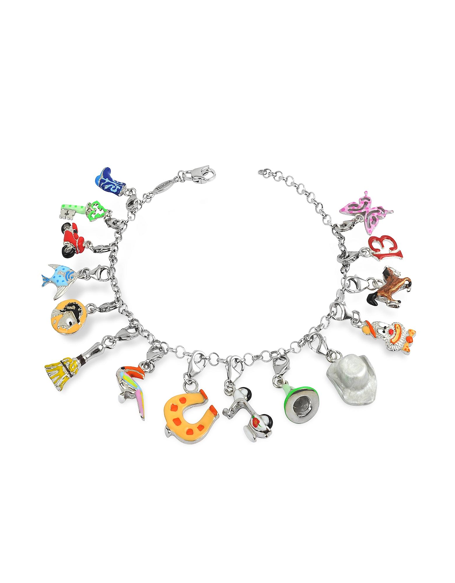 Tedora Bracelets, Sterling Silver Multicolor Charm Bracelet