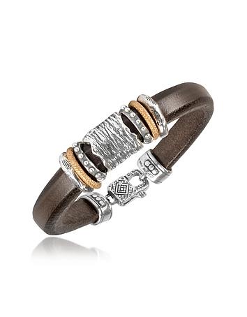 Tedora - Silver Band Leather Bracelet