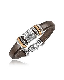 Bracelet en cuir et argent  - Tedora