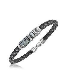 Bracelet en cuir tressé et argent  - Tedora
