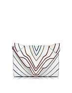 Elena Ghisellini Felina Mignon White Multilines Leather Clutch eg130117-002-00