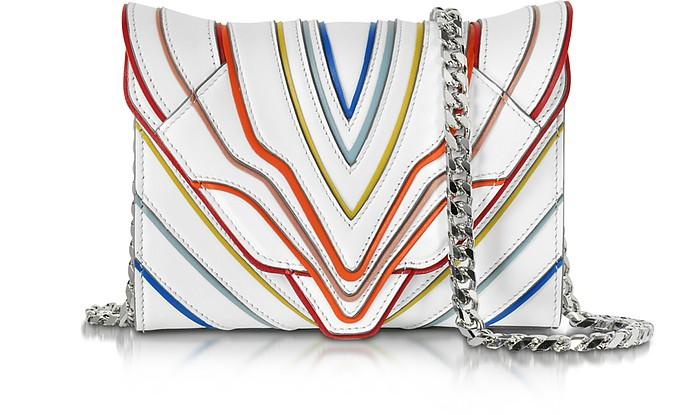 Felina Mignon White Multilines Leather Clutch - Elena Ghisellini