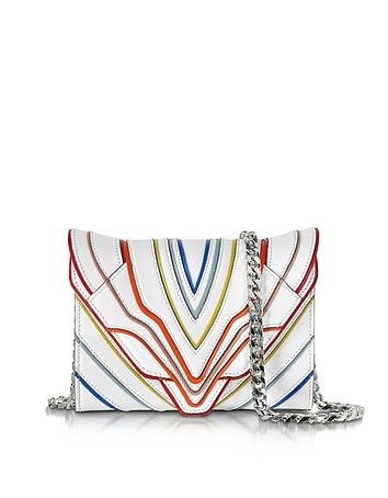 Felina Mignon White Multilines Leather Clutch