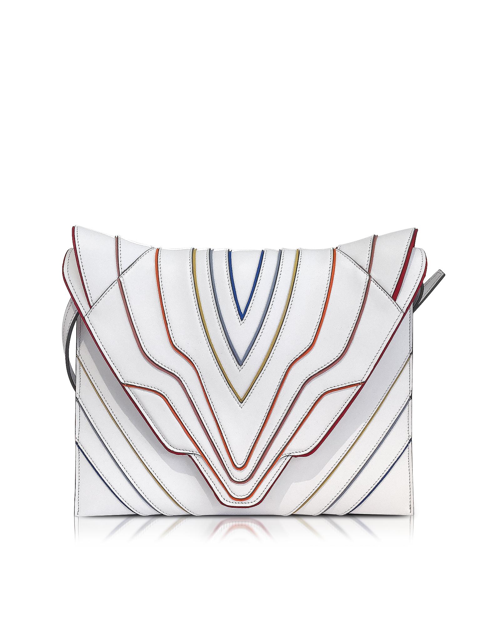 Фото Pochette Fatale - Белый Кожаный Клатч с Цветными Линиями. Купить с доставкой
