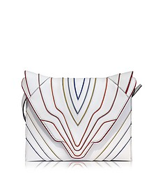 Pochette Fatale White Multilines Leather Clutch - Elena Ghisellini