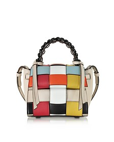Mini Angel Crossed Lines Borsa a Mano in Pelle Multicolor - Elena Ghisellini