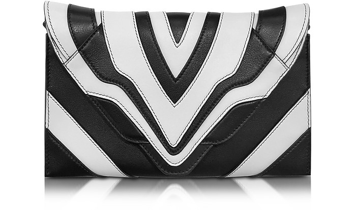 Selina Graphic Lines Small Black & White Leather Clutch - Elena Ghisellini
