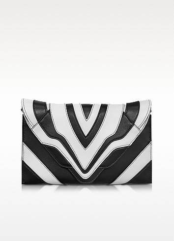 Selina Graphic Lines Small Black & White Leather Clutch - Elena Ghisellini