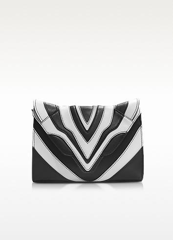 Felina Mignon Graphic Lines - Pochette Zébrée en Cuir Noir et Blanc - Elena Ghisellini