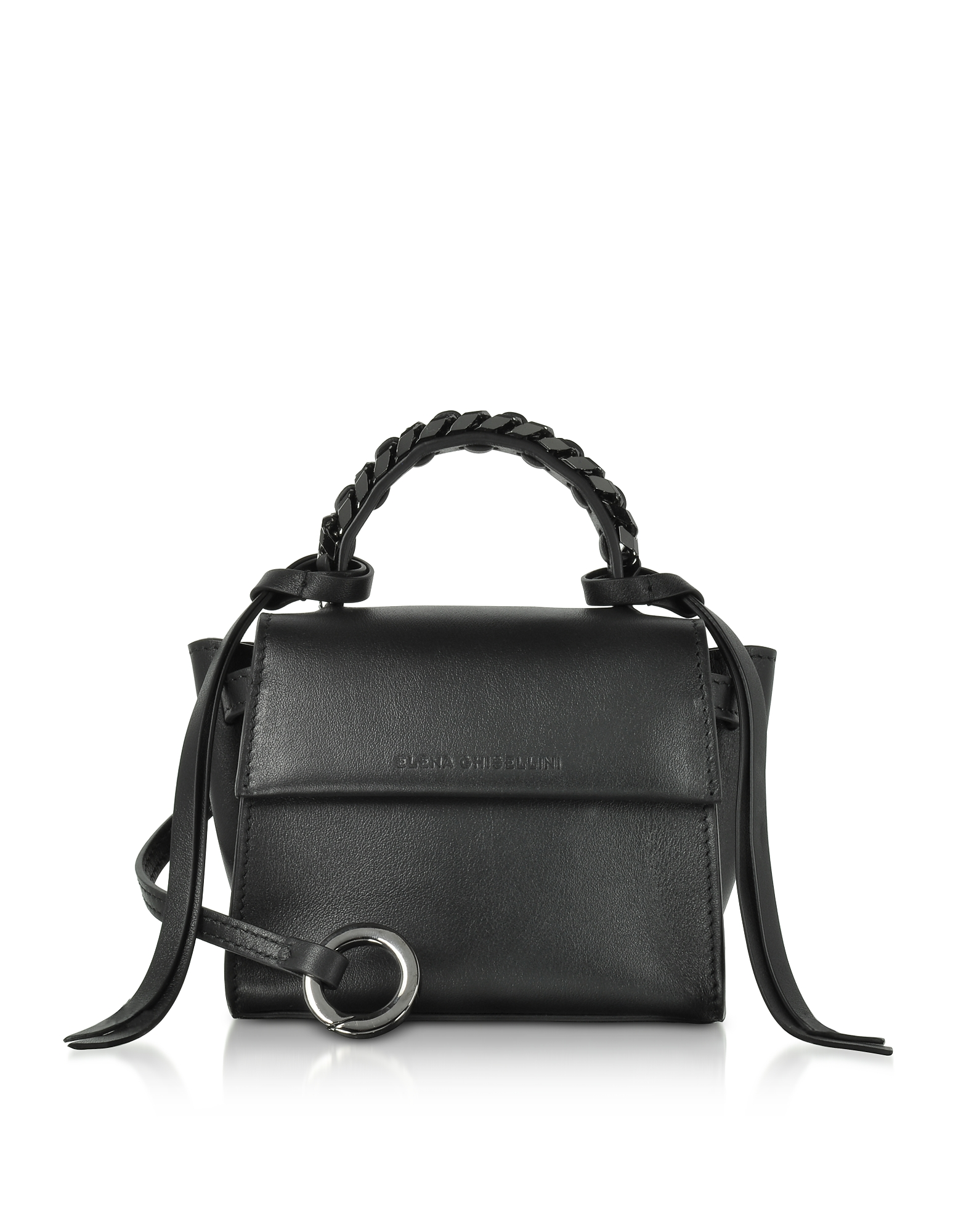Elena Ghisellini Handbags, Black Leather Micro Angel Top Handle Satchel Bag