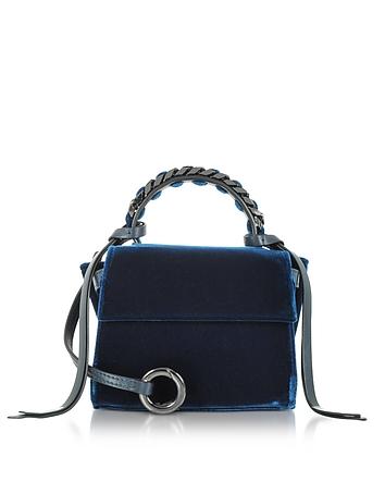 Navy Blue Velvet Micro Angel Top Handle Satchel Bag