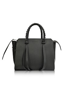 Small Usonia Sensua Black Leather Tote Bag - Elena Ghisellini