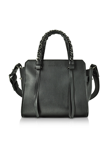 Small Usonia Sensua Black Leather Tote Bag
