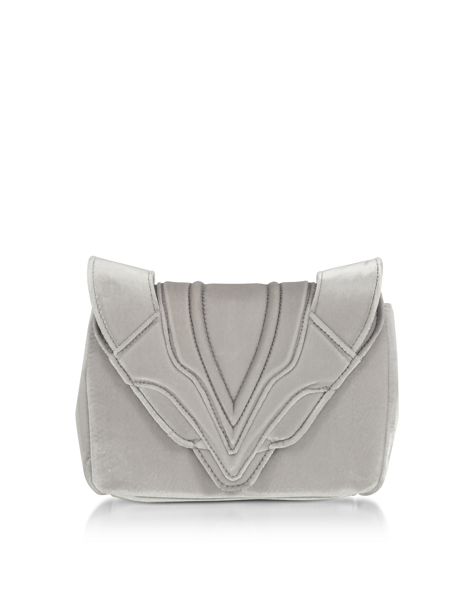 Elena Ghisellini Handbags, Silver Velvet Felix Clutch