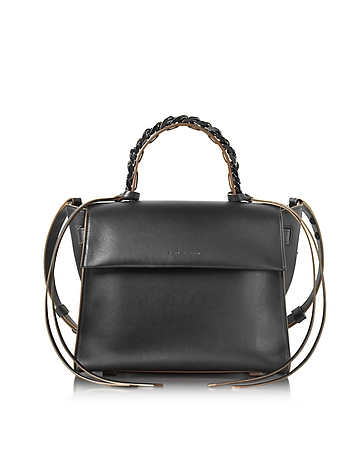 Forzieri DE Elena Ghisellini Angel Sensua Black Leather Medium Handbag w/Brown Edge