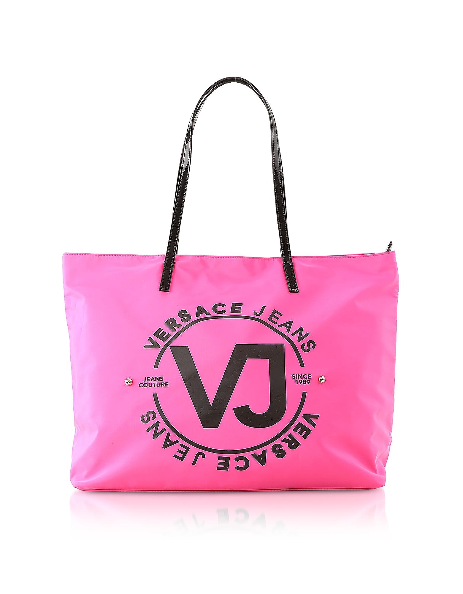 Versace Jeans Designer Handbags, 6 Dis. 60 Fuchsia Polyester Tote Bag