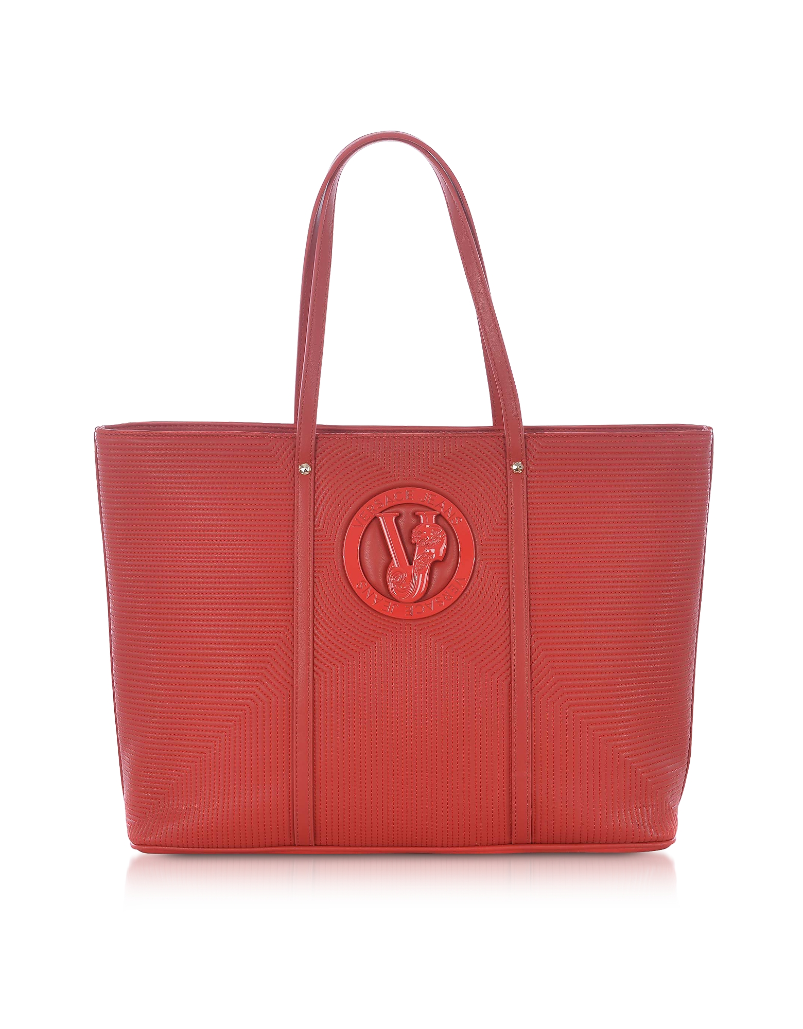 Versace Jeans Designer Handbags, M Dis. 2 Red Polyester Tote Bag