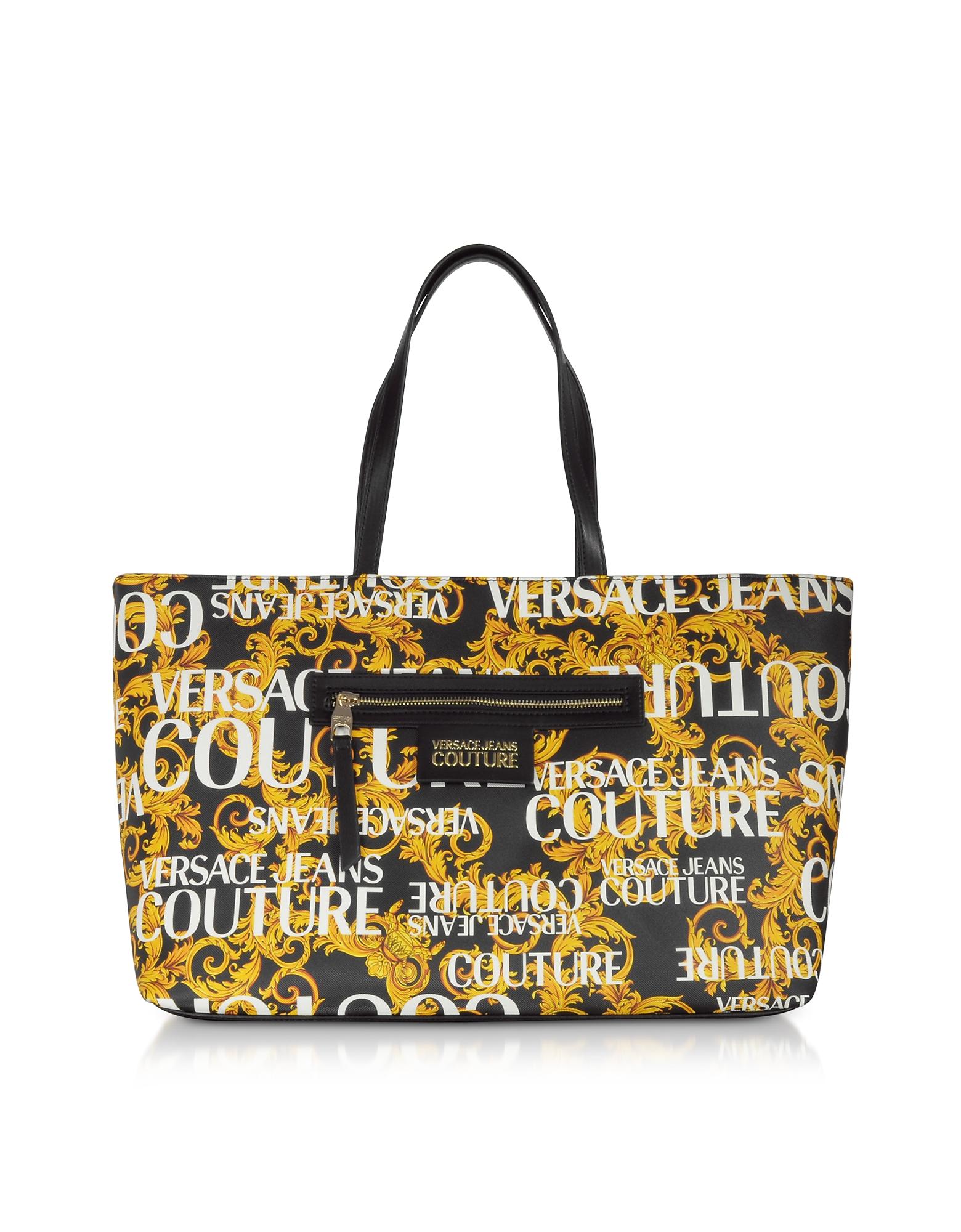 Gold Signature Print Large Tote Bag