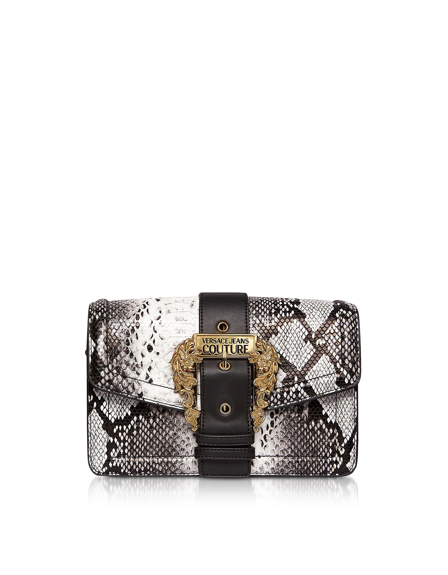 Roccia Python Embossed Leather Crossbody Bag w/ Buckle