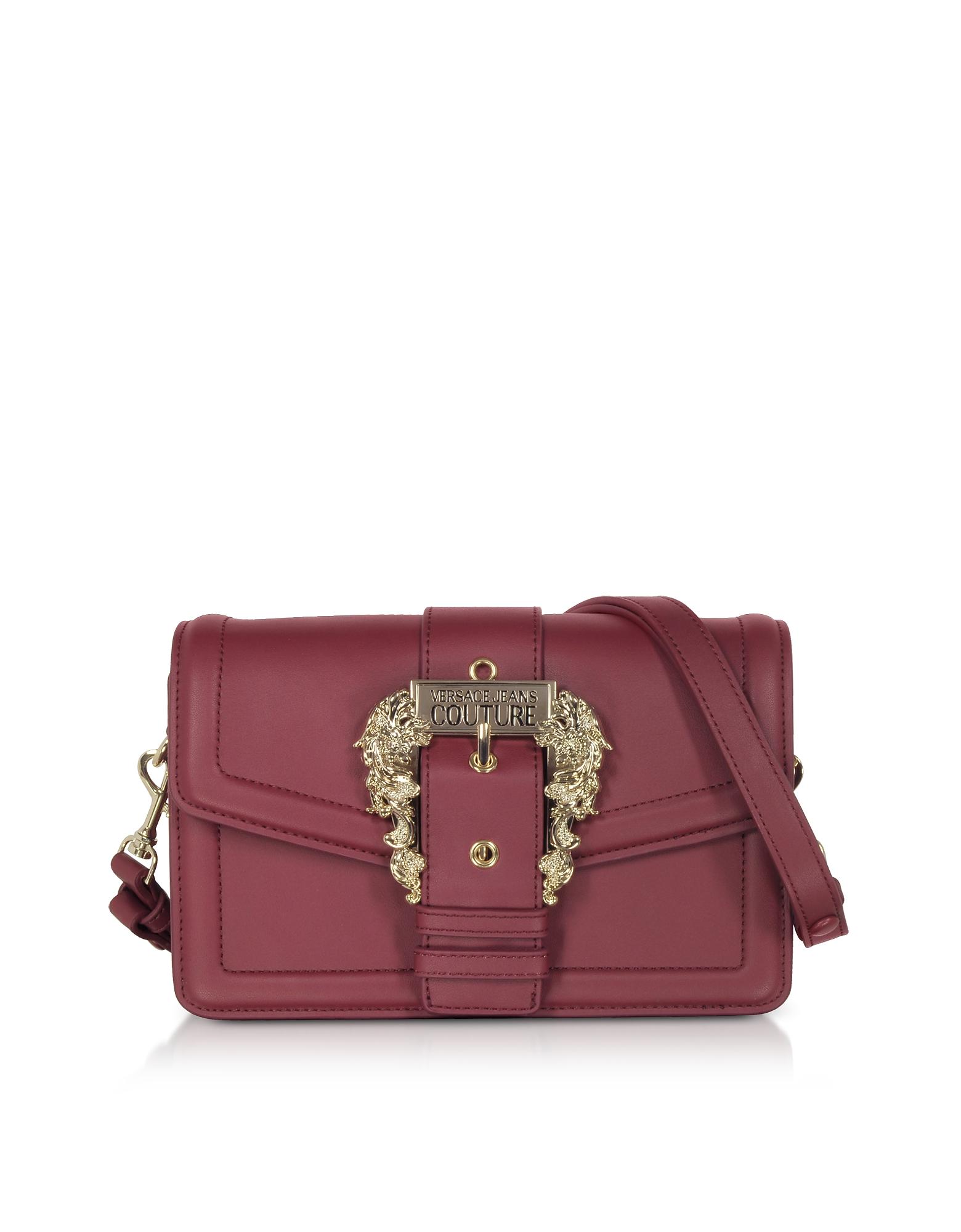Burgundy Leather Crossbody Bag w/ Buckle