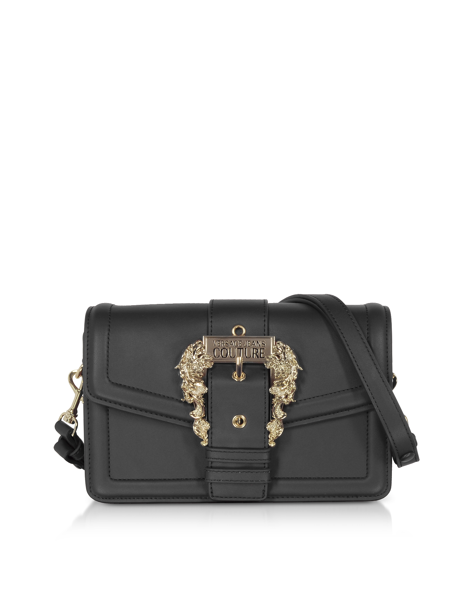 Black Leather Crossbody Bag w/ Buckle
