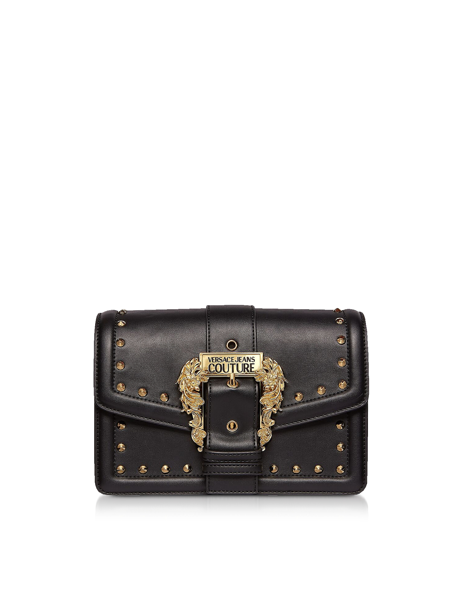 Black Studded Leather Crossbody Bag w/Buckle