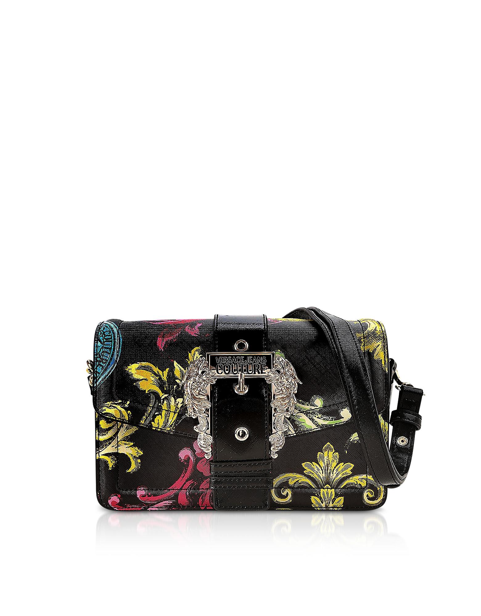 Versace Jeans Couture Designer Handbags, Black Heritage Saffiano Couture 1 Shoulder Bag