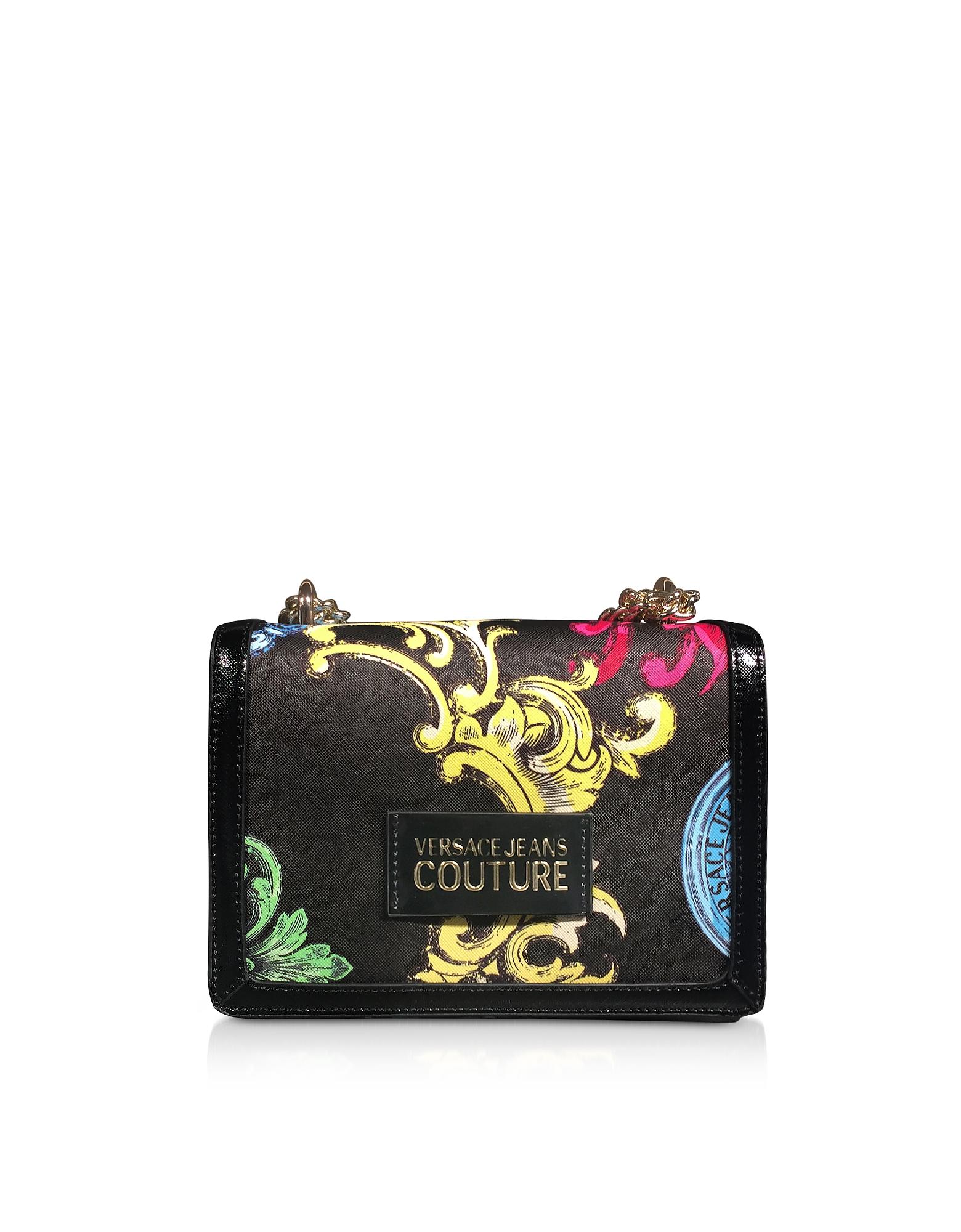 Versace Jeans Couture Designer Handbags, Small Black Saffiano Heritage Shoulder Bag