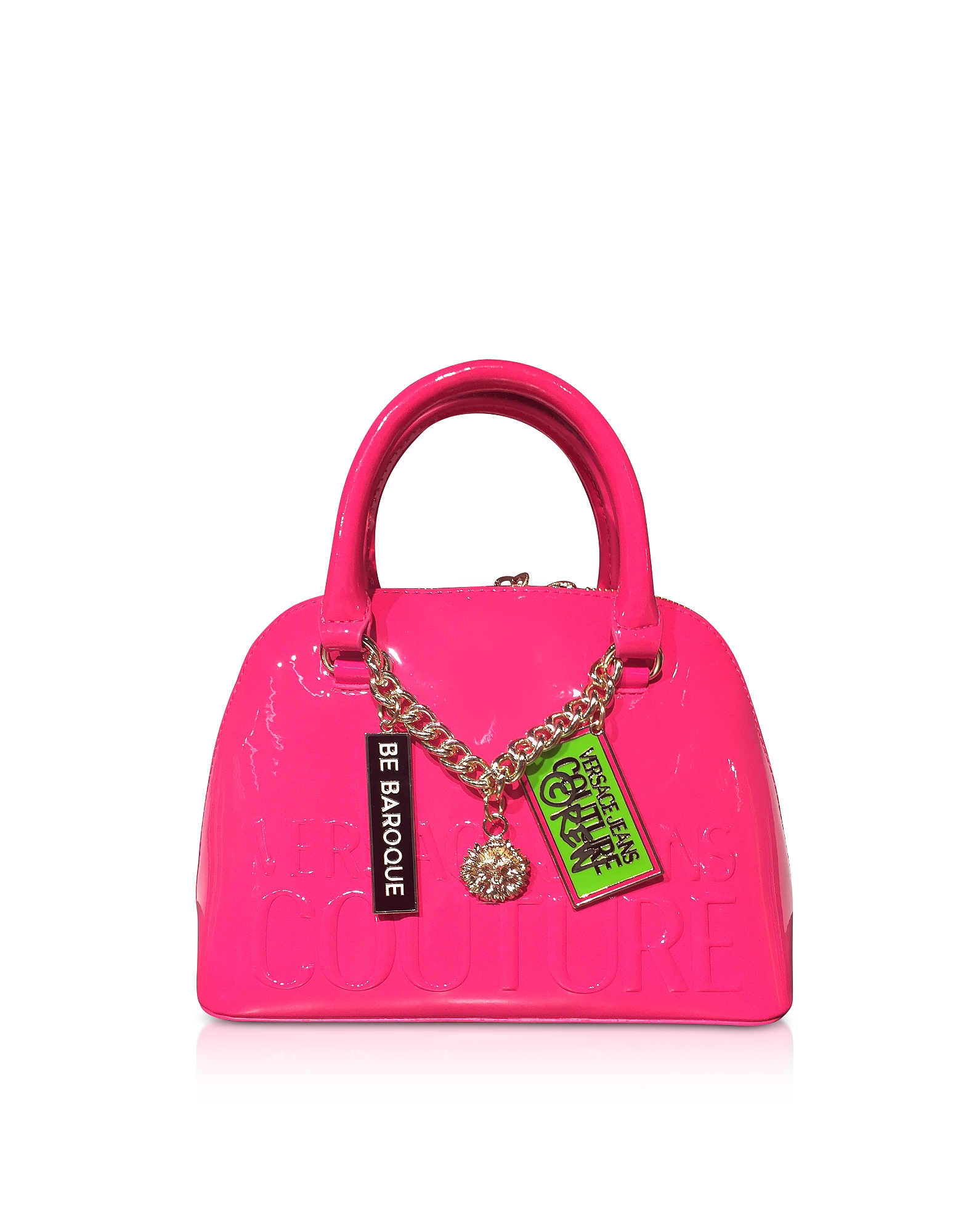 Versace Jeans Couture Designer Handbags, Embossed Logo Top Handle Bag w/ Charms