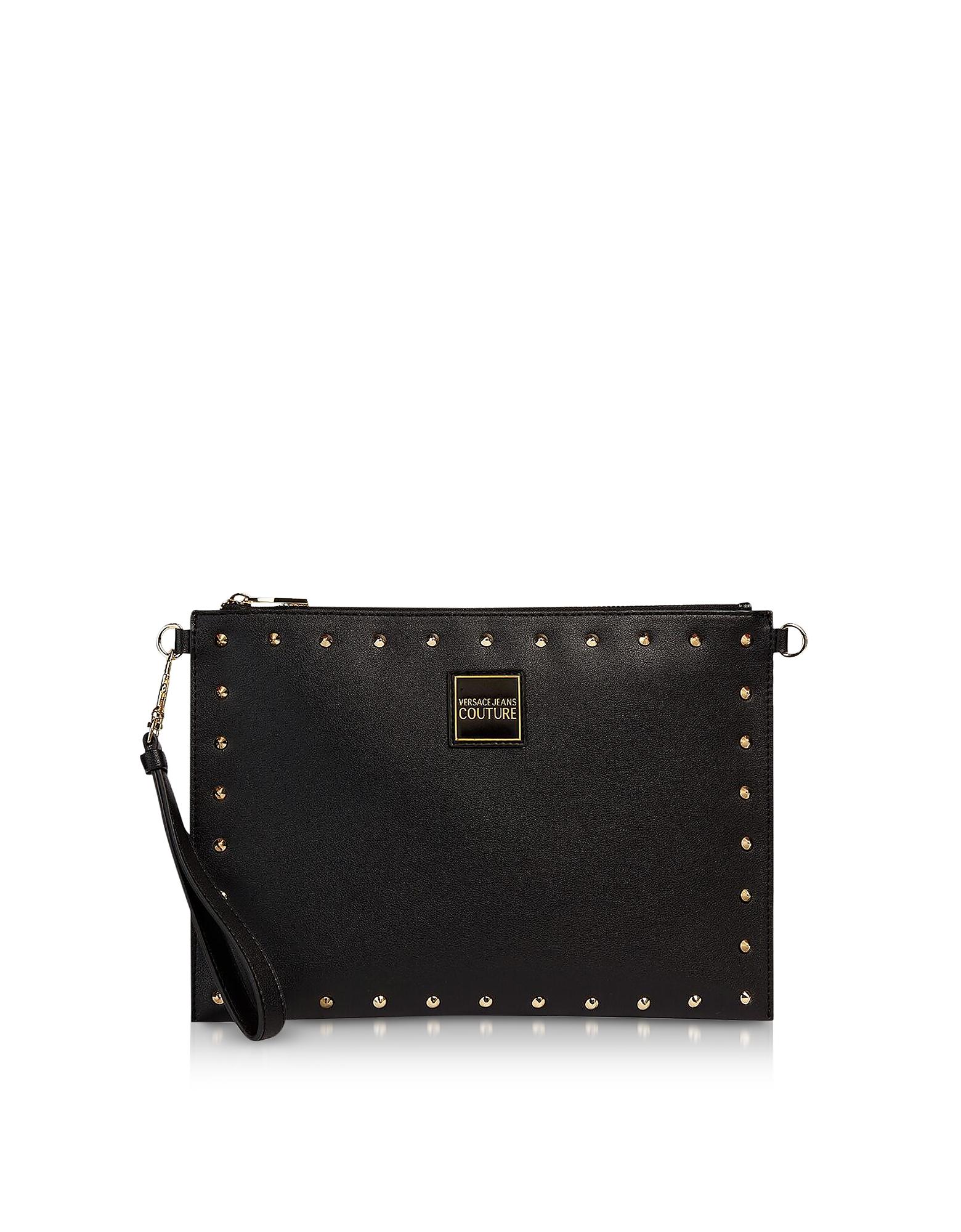 Черный Кожаный Клатч Кошелек с Заклепками Versace Jeans Couture