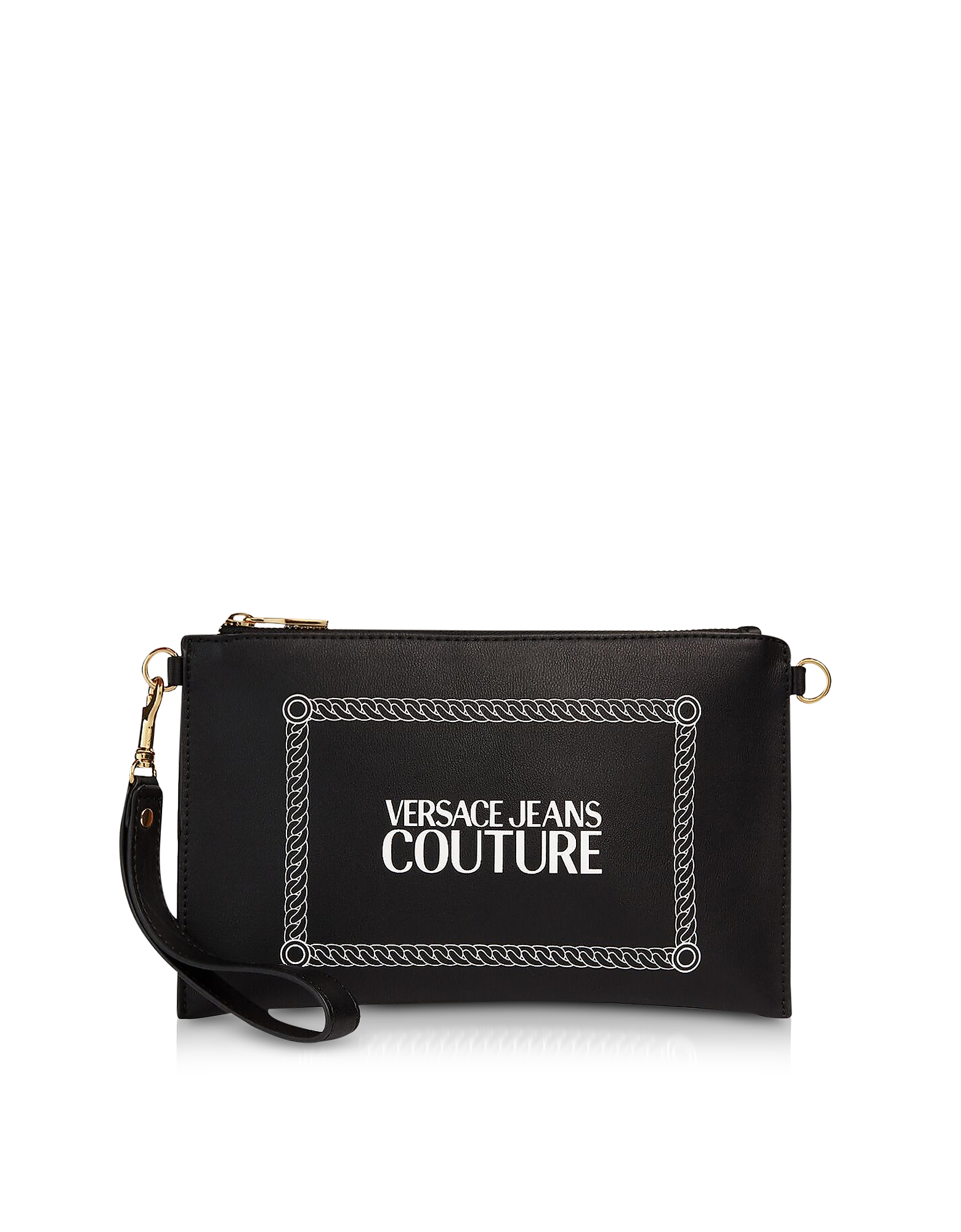 Versace Jeans Couture Designer Wallets, Black and White Signature Wallet Clutch w/Shoulder Strap