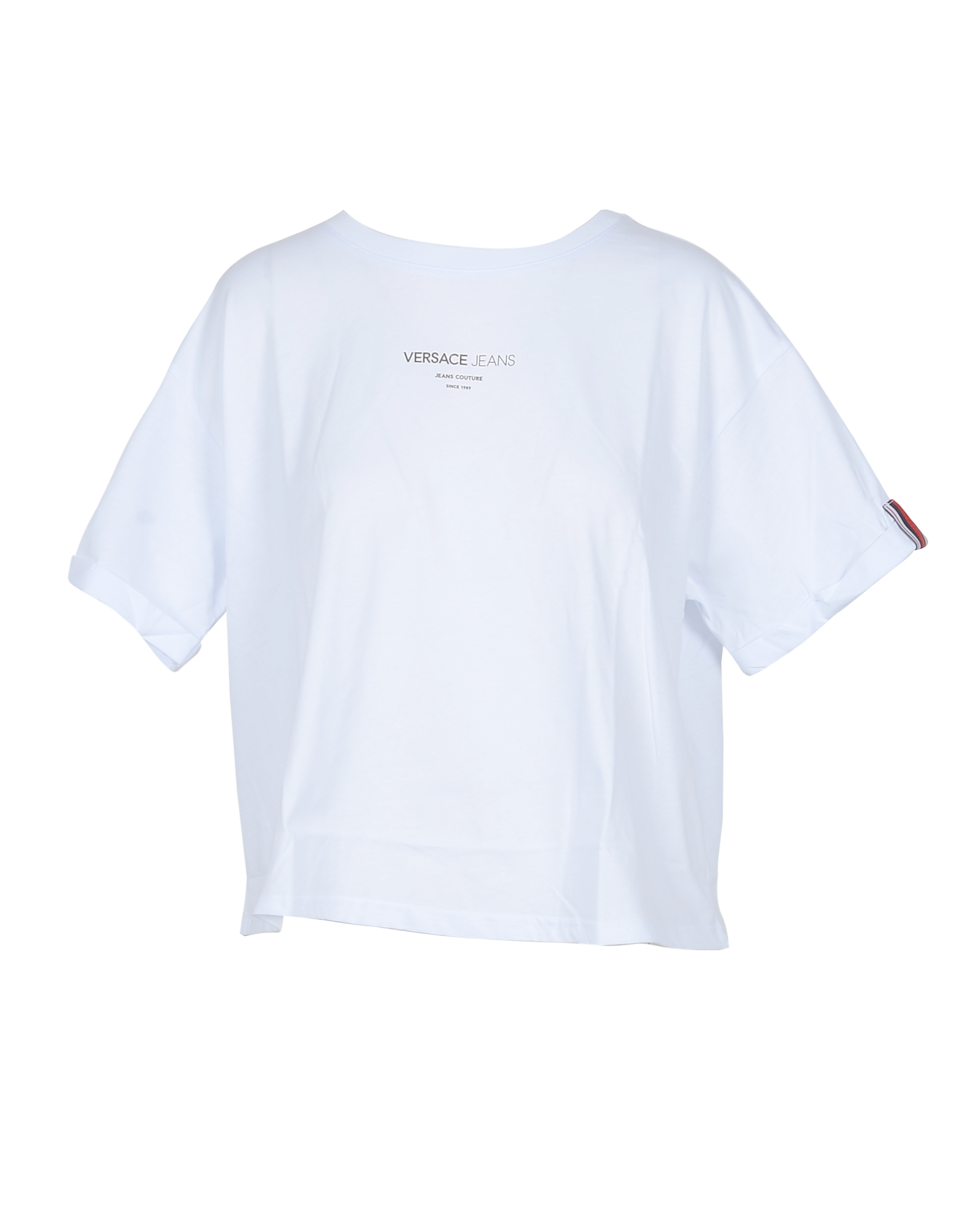 Versace Jeans Designer T-Shirts & Tops, White Cotton Oversized Women's T-Shirt