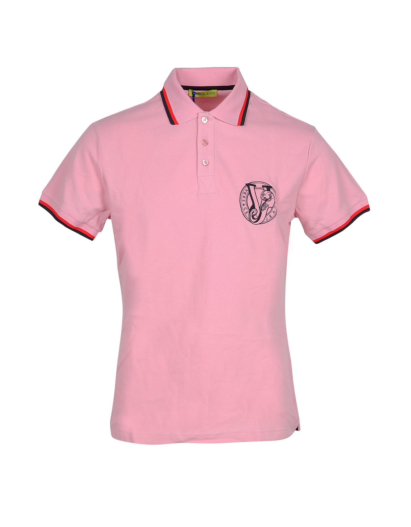 Versace Jeans Designer Polo Shirts, Pink Cotton Men's Polo Shirt