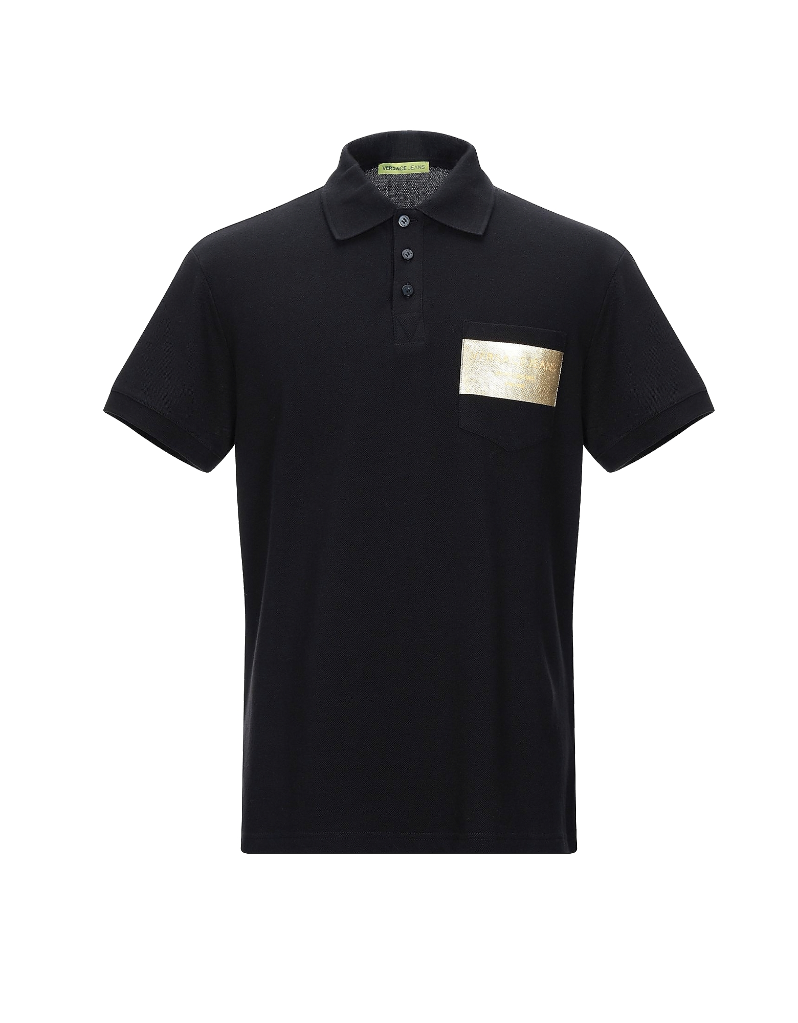 Versace Jeans Designer Polo Shirts, Black and Gold Cotton Men's Polo Shirt